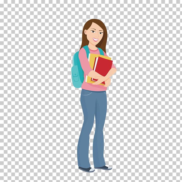 Niña sosteniendo libros ilustración, estudiante.