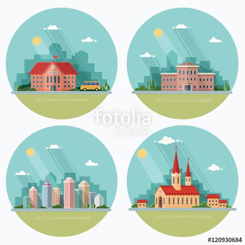 Set of icons of urban life. School, church, university, city. Fl.