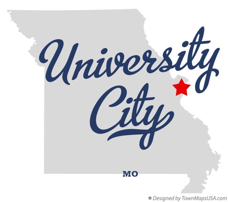 Map of University City, MO, Missouri.