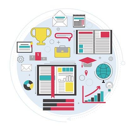 Distance education, online courses, brainstorm, knowledge.