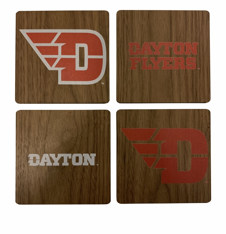 University Of Dayton Walnut Coaster Set.