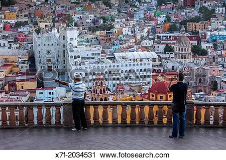 Stock Photography of Tourists, View of Guanajuato from the.