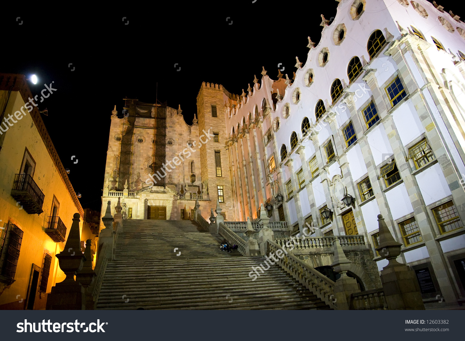 University Of Guanajuato, Mexico, Steps With Students At Night.
