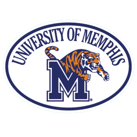 Oval Shaped University of Memphis \'M Tiger\' Decal.