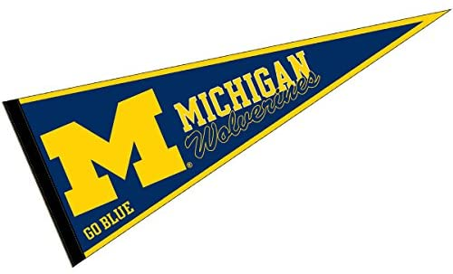 College Flags & Banners Co. Michigan Wolverines Pennant Full Size Felt.