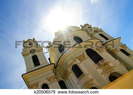 Stock Photograph of The famous University Church in Salzburg.