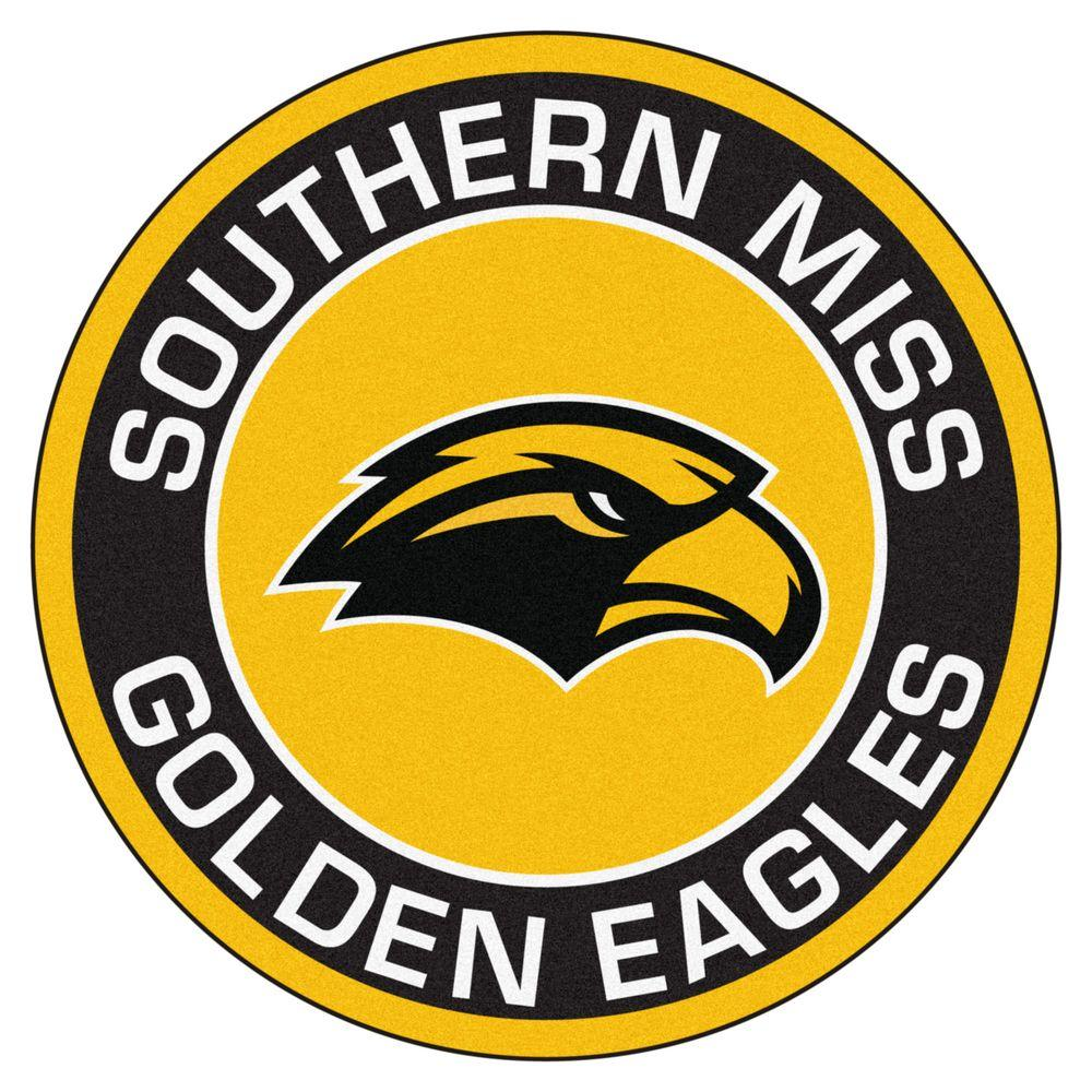 FANMATS NCAA University of Southern Mississippi Black 2 ft. x 2 ft. Round  Area Rug.
