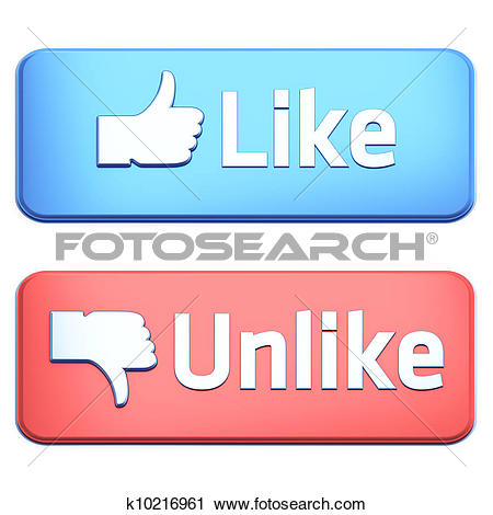 """Clipart of """"Like"""" and """"Unlike"""" buttons 3d render on white."""