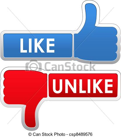 Vector Clip Art of Like and Unlike Labels, vector eps10.