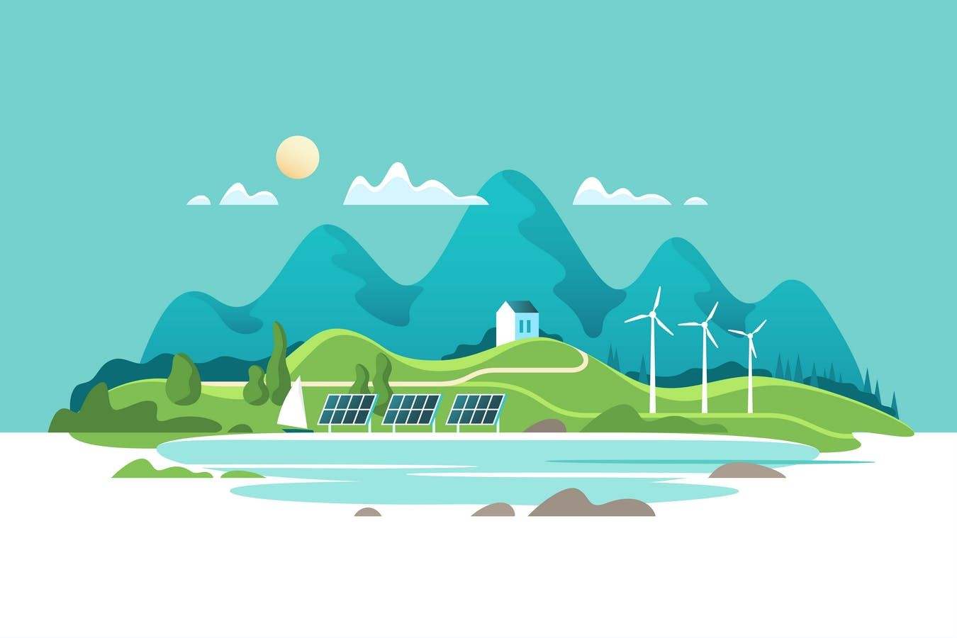 Concept of Green Renewable Energy Vector Illustration AI.