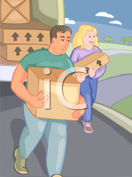 Man and Woman Unloading a Moving Truck.