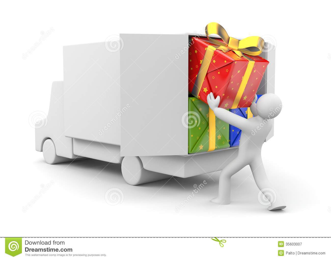 3d Person Unload Car With Gift Royalty Free Stock Image.