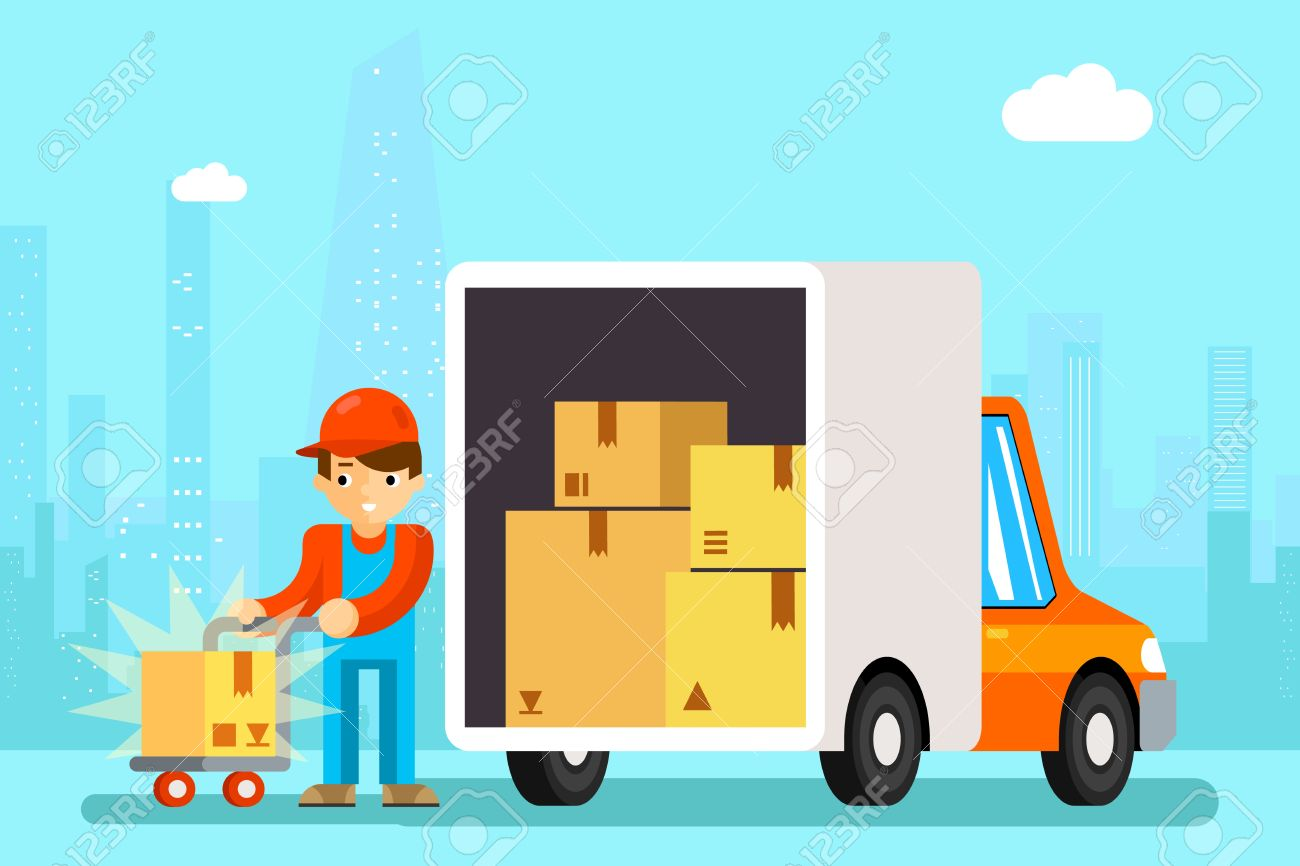 Delivery Man Unload Delivery Car Boxes. Transportation Cargo.