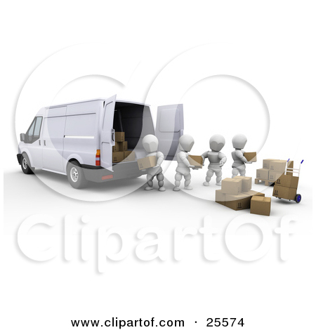 Clipart Illustration of a Team Of White Characters Unloading Or.