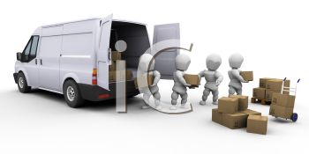 Royalty Free Clip Art Image: 3D Figures Unloading A Delivery Van.