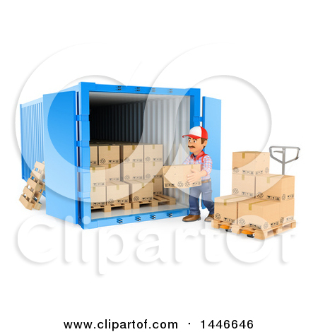 Clipart of a 3d Shipping Warehouse Worker Loading or Unloading.