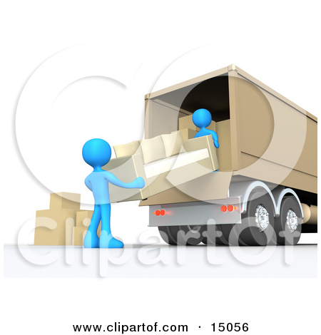 Two Blue Male Figures Lifting And Loading Or Unloading A Beige.