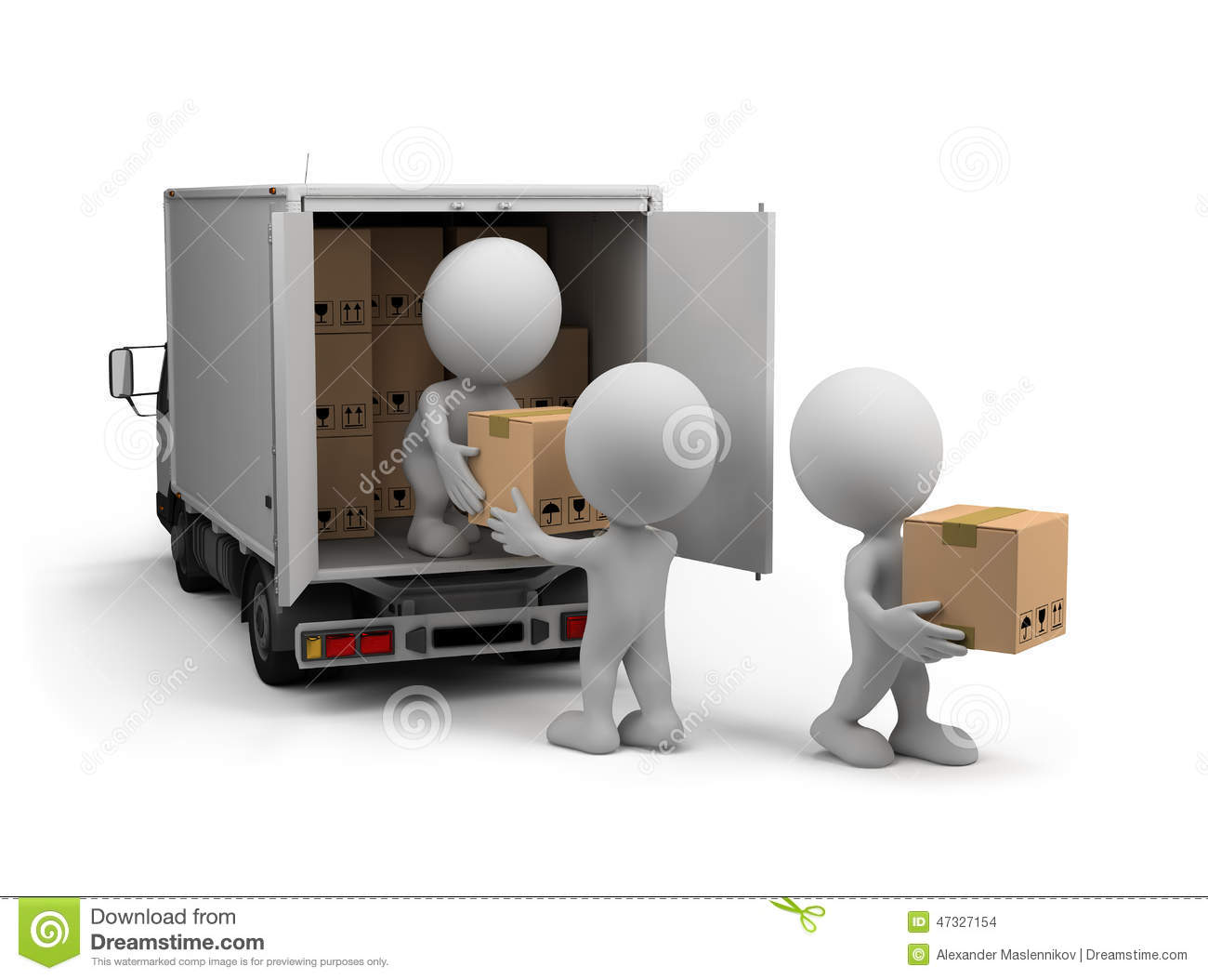 Delivery truck unloading clipart.