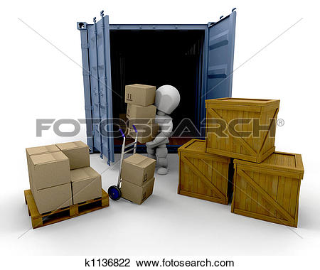Clip Art of Unloading boxes k1136822.