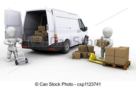 Clipart of Unloading a van.