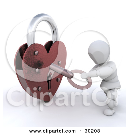Cartoon of a Red Heart Padlock.