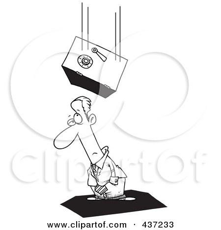 Clipart Safe Falling On An Unlucky Businesswoman.
