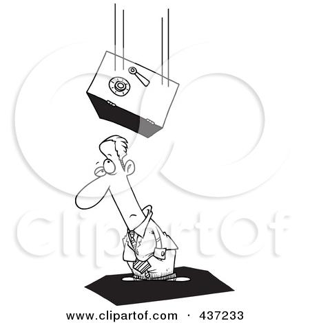 Clipart Safe Falling On An Unlucky Businesswoman.