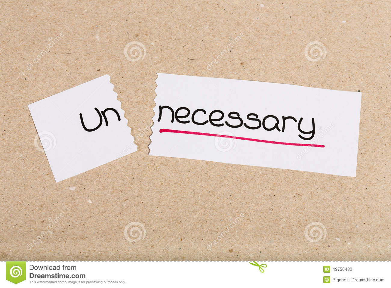Sign With Word Unneccesary Turned Into Necessary Stock Photo.