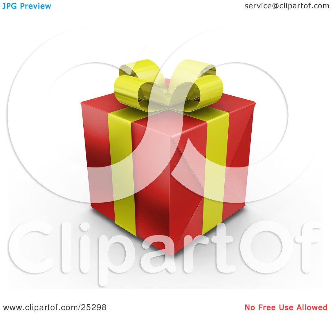 Clipart Illustration of an Unopened Christmas Gift Wrapped In Red.