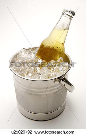 Stock Photo of Bottle of unopened beer sitting in a bucket of ice.