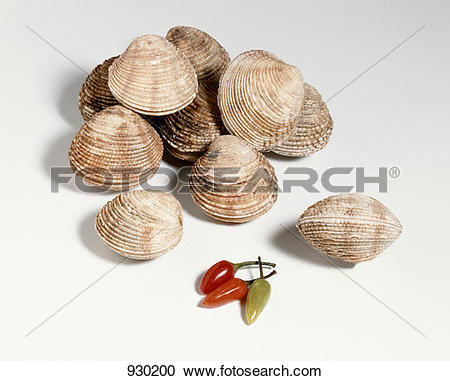 Stock Photography of Unopened clams and chili peppers 930200.
