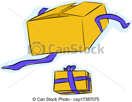 Vectors Illustration of Gift Box Open and Unopened.