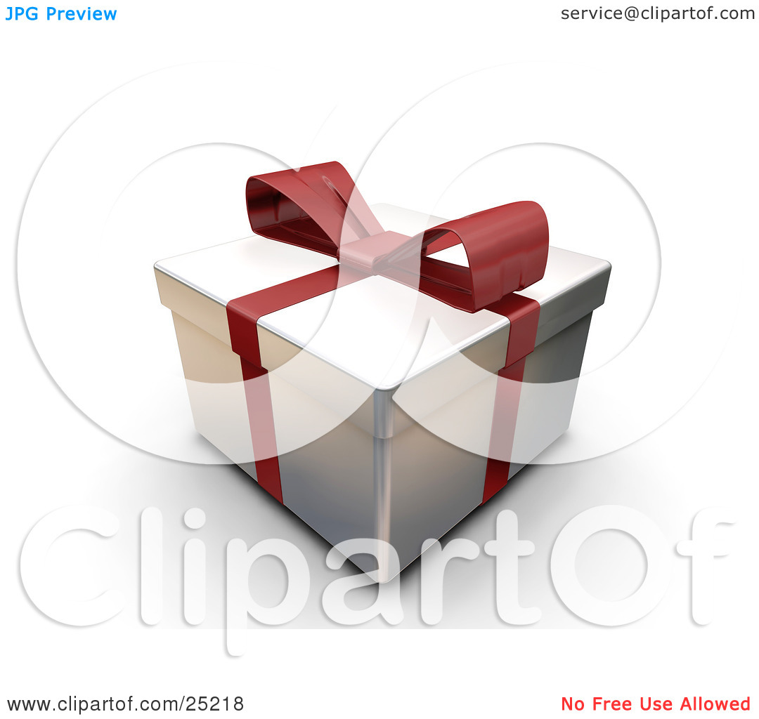 Clipart Illustration of an Unopened Christmas Gift Wrapped In.