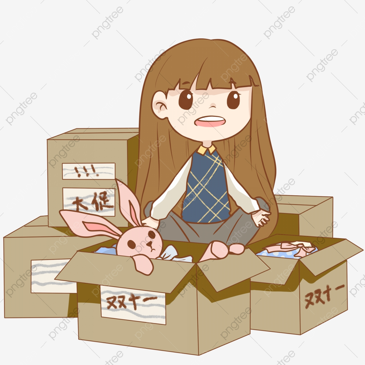 Hand Painted Girl Unpacking Illustration, Low Price Frenzy.