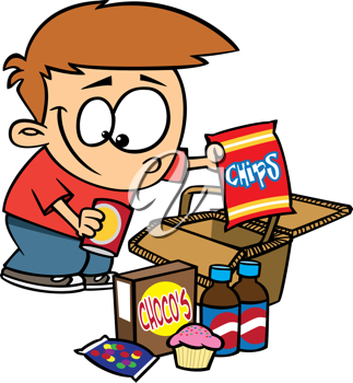 Royalty Free Clipart Image of a Boy Unpacking a Picnic.