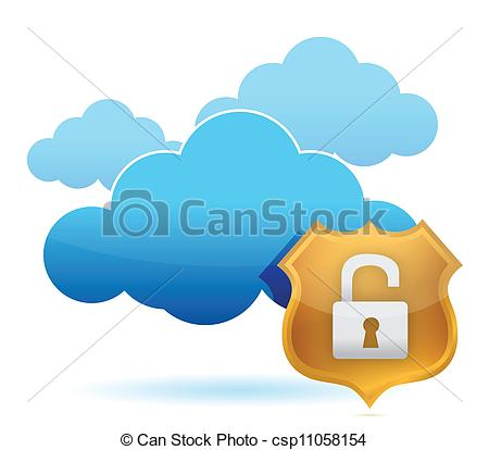 Clipart Vector of computer cloud unprotected by gold shield.