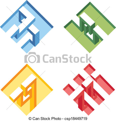 Vector Clip Art of unreal bright geometrical objects vector.