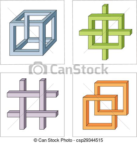Vector Clip Art of different multicolored optical illusions of.