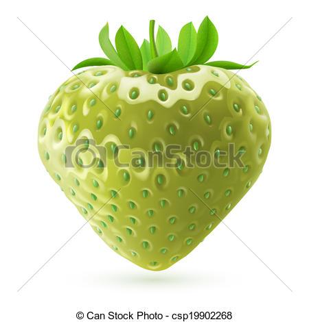 Clip Art Vector of Unripe strawberry.