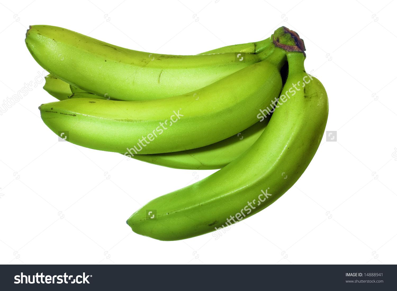 Green Bananas Isolated On White Background, Unripe Fruits Stock.