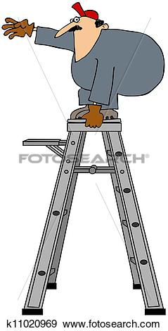 Stock Illustration of Unsafe worker k11020969.