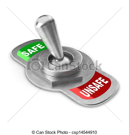 Clipart of Safe vs Unsafe Switch.