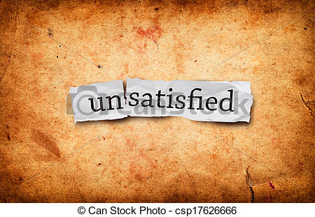 Stock Image of Unsatisfied concept on old grunge paper background.