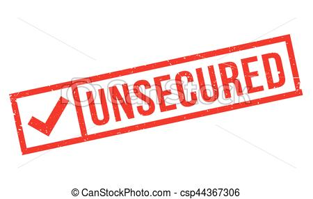 Vector Clipart of Unsecured rubber stamp. Grunge design with dust.