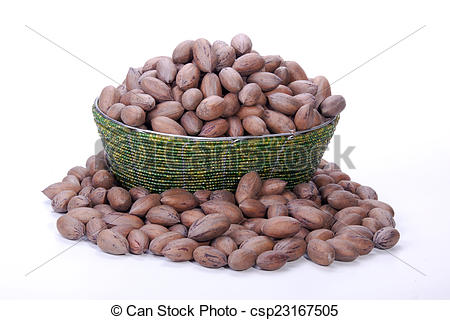 Stock Photography of Pile of Unshelled Pecan Nuts in Beaded Zulu.