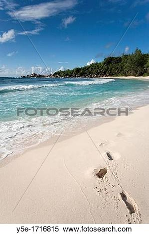 Stock Image of Unspoilt beach at Anse Cocos.