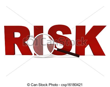 Clip Art of Risk Word Shows Unstable Hazard Or Risky.