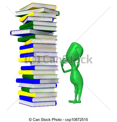 Clipart of Puppet amazingly looking on unstable book column.
