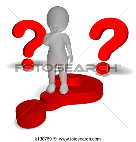 Stock Photograph of Question Marks Around Man Shows Confusion And.
