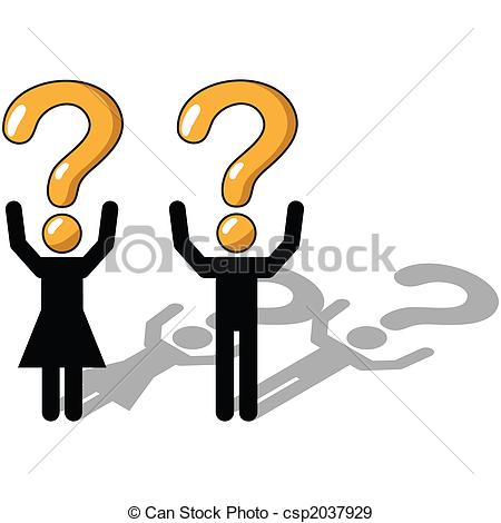Stock Illustration of Questioning, uncertainty, unsure.